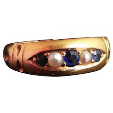 Victorian Sapphire and Pearl ring, 15ct gold