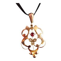 Art Nouveau Ruby and pearl pendant, 9k gold
