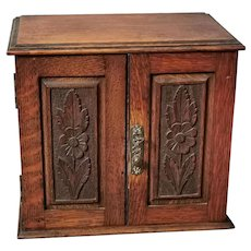 Antique Arts and Crafts Oak smokers cabinet