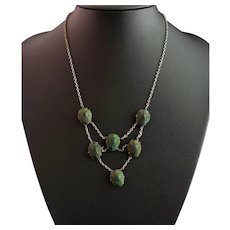 Art Deco real scarab beetle festoon necklace