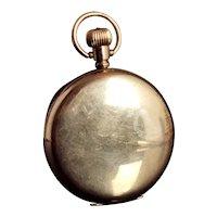 Art Deco gold plated full hunter pocket watch