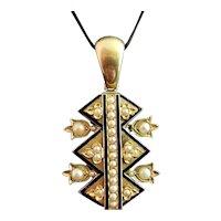 Victorian blue enamel and split pearl pendant, 9ct gold