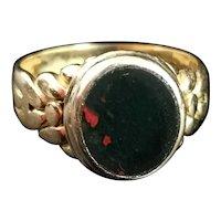 Antique 18ct gold Bloodstone signet ring