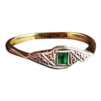 Vintage Art Deco Emerald ring, 18ct gold and platinum