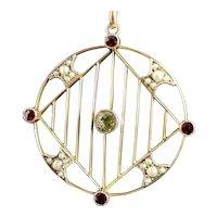 Antique Edwardian 9ct gold pendant, Peridot, Garnet and Pearl