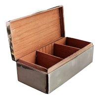 Antique sterling silver cigarette box, heavy, Edwardian
