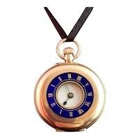 Antique 9ct gold half hunter pocket watch, blue enamel