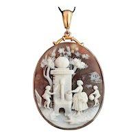 Antique Victorian cameo pendant, 9ct gold, children and garden