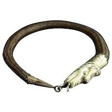 Victorian mourning bangle, 9ct gold Snake, hairwork, ouroboros