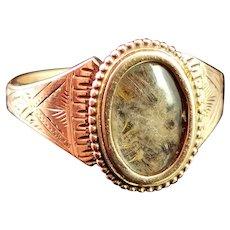 Antique mourning ring, 9k engraved gold, hairwork