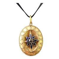 Victorian Diamond star pendant, blue enamel, 9k gold