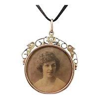 Antique 9k gold seed pearl locket, Edwardian