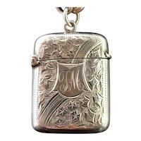Antique silver vesta case, Edwardian, ivy leaf engraved
