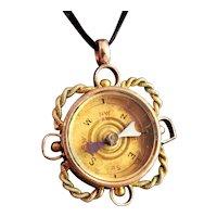 Antique 9ct gold compass pendant, Carnelian fob