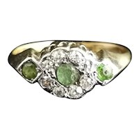 Antique Edwardian Peridot and Diamond cluster ring, 18k gold