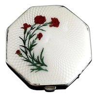 Vintage Art Deco silver and enamel compact, floral
