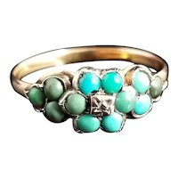 Antique Victorian turquoise and diamond cluster ring, 18k gold