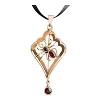 Antique 9ct gold spider pendant, lavalier