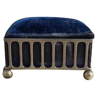 Antique jewelry casket, silver plated and blue velvet