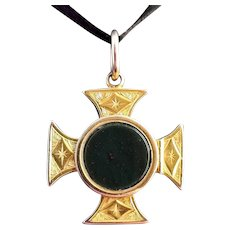 Antique Victorian 9k gold Maltese Cross locket, bloodstone, pendant