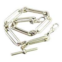 Antique silver Albert chain, watch chain, Trombone link