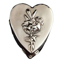 Antique Silver heart shaped jewellery box, velvet lined