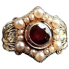 Antique Mourning ring, 18ct gold, Enamel, Pearl and Garnet, William IV