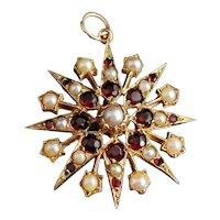 Antique Garnet and pearl Starburst pendant, 9k yellow gold