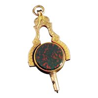 Victorian 9k gold watch key seal fob pendant, Masonic