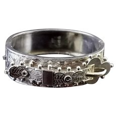 Victorian silver buckle bangle, Aesthetic, fern
