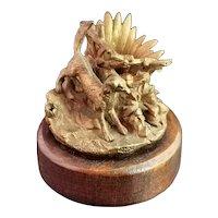 Antique gilt bronze table vesta, dog and rabbit