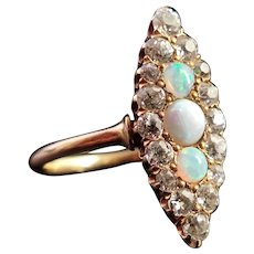 Antique Diamond and Opal navette ring, 18k gold