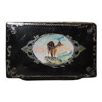 Victorian snuff box, Deer, papier mache