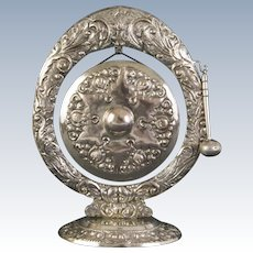 A lovely and very ornate Yogya Silver table gong, 1930s.