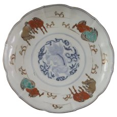 A Japanese Imari plate from the late Edo period