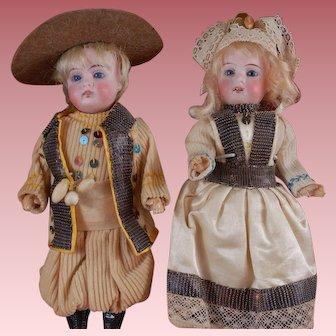 """pair of 9"""" Gebruder Kuhnlenz german dolls."""