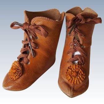 """Doll shoes of 19th century model """"Au Bonmarche"""""""