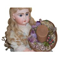 Magnificent Antique Oval Bonnet for large Bebe or Character Doll