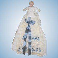 Sweet German Bisque Head Baby in Factory Dress