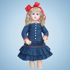 Wonderful Antique Handmade Navy & Red Princess Dress for Jumeau, Steiner or French Doll