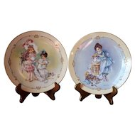 "(2) Maud Humphrey Doll Plates - ""Playing Mama"" & ""Playing Bridesmaid"", Hamilton Collection"