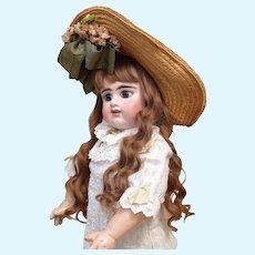 Pretty Etienne Denamur French Bebe Doll with fabulous Dress & Antique Bonnet