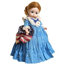 Betsy Ross-Vintage Madame Alexander-Hard Plastic -Bent Knee-with Original Stand!