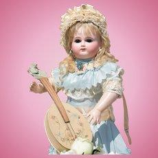 Spectacular Bebe by Schmitt Et Fils with Signed Body and Fabulous Antique Dress & Bonnet