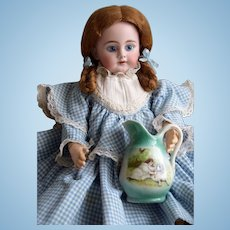 Victorian Pitcher for a French or German Doll with nice scene of a Girl & her Dog