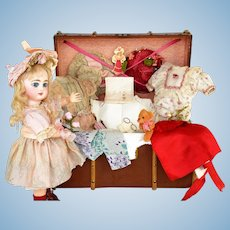 """Bright-Eyed Depose Tete Jumeau """"Sarah Anne"""" with Trunk and Large Wardrobe - Mostly Antique"""