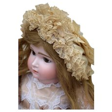 "Antique French Ribbon & Lace Silk Bonnet for a 22-24"" Bebe"