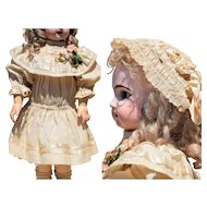 "Sweet Antique Light Wool Cream Dress and Lace Bonnet with Ribbon Work for a 22-""23"" Doll"
