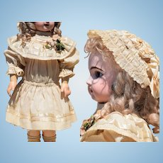 "Sweet Antique Light Wool Cream Dress and Lace Bonnet with Ribbon Work for a 22""-23"" Doll"