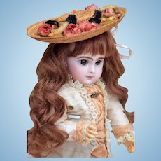 "12"" Childlike Tete Jumeau 3 with Gorgeous Dress and Antique Hat"